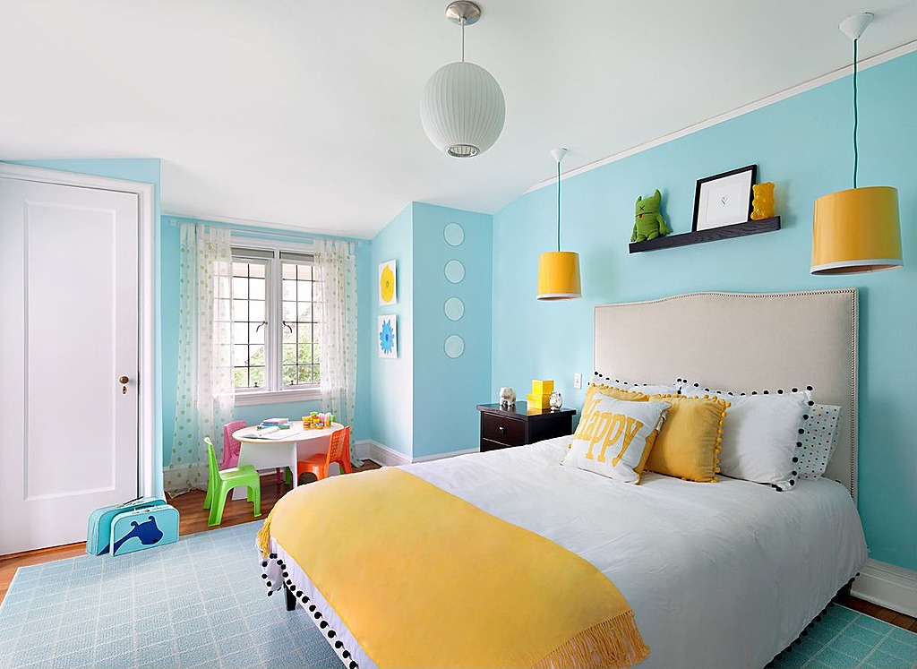 Fun accents make this room suitable for kids. .