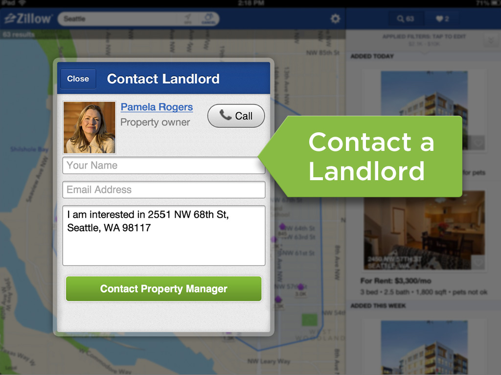 Launched today zillow rentals on ipad zillow for Call zillow
