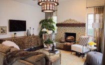 Dann's Spanish-style living room is still modern.