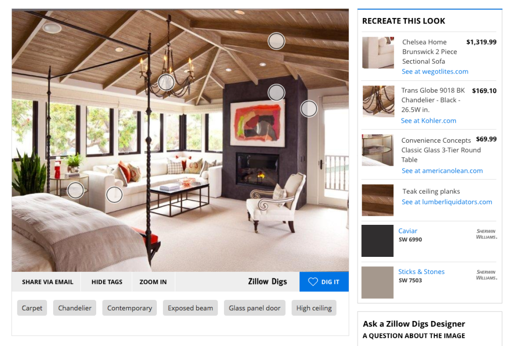 Re create home design looks with zillow digs product tags for Home design zillow