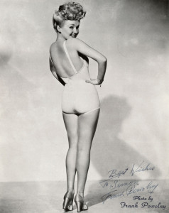 """Gable's iconic pose from 1943 was a WWII bestseller, showing off her """"million-dollar legs."""" Source: Wikipedia Commons"""