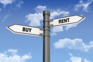 Buy vs. rent sign