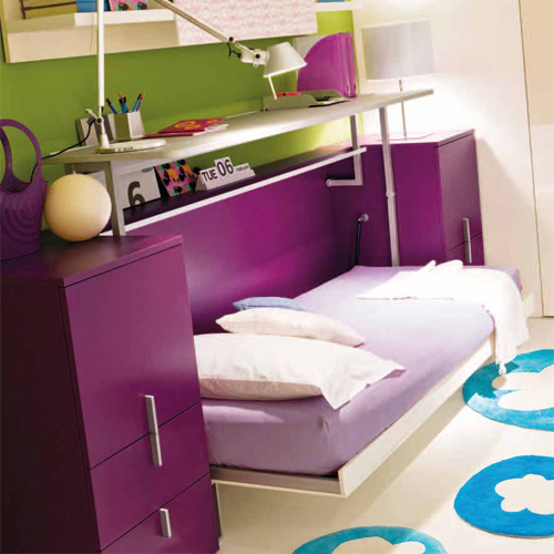 The Cabrio's desk folds down to reveal a mattress. Source: resourcefurniture.com