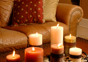 Candles in family room