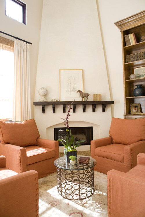 After: Extending the fireplace to the ceiling adds drama to the room.