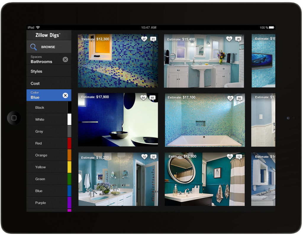 Zillow Digs Color Release -- Blue Bathrooms