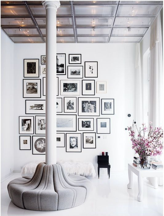 This collection of black and white art is a stunning installation by Jolly Home.