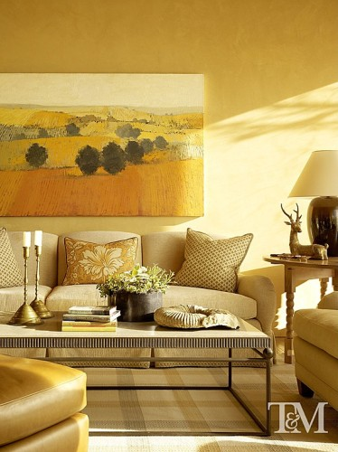 Even a strong color like goldenrod can work in a monochromatic scheme.