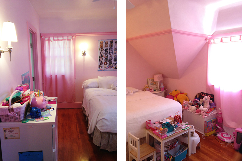 Before: pink everywhere and a need for additional storage.