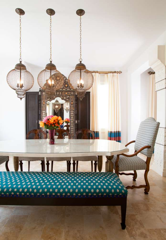 The light fixtures serve as the centerpiece of the townhome's dining room.