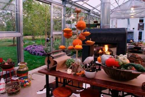 A collection of gourds makes a pleasing Fall decor centerpiece