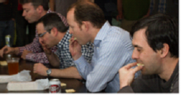 Zillow employees compete in the first round of the Saltine Challenge.