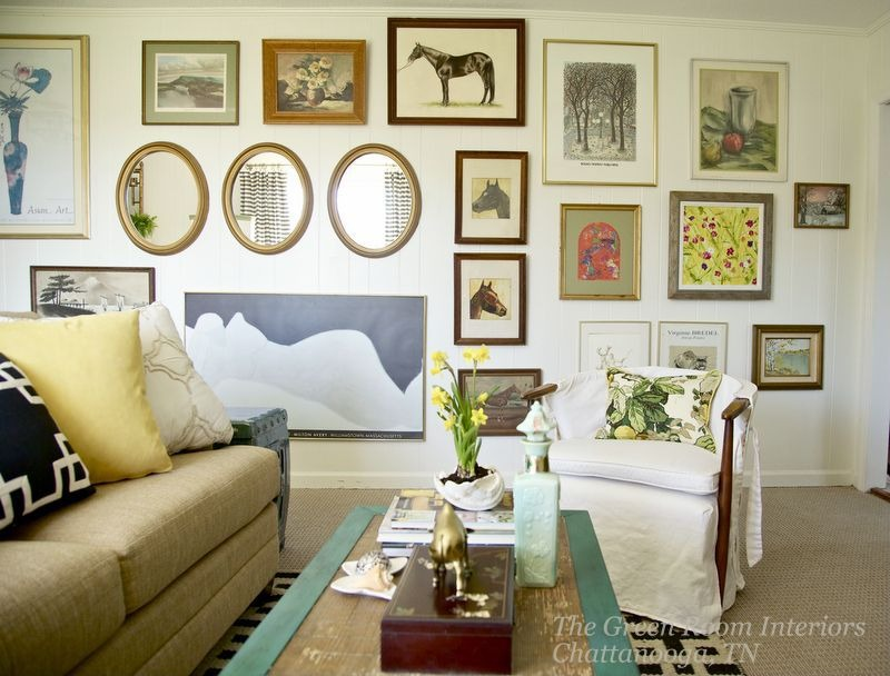 Lemmon's gallery wall features items she's gathered over the years.