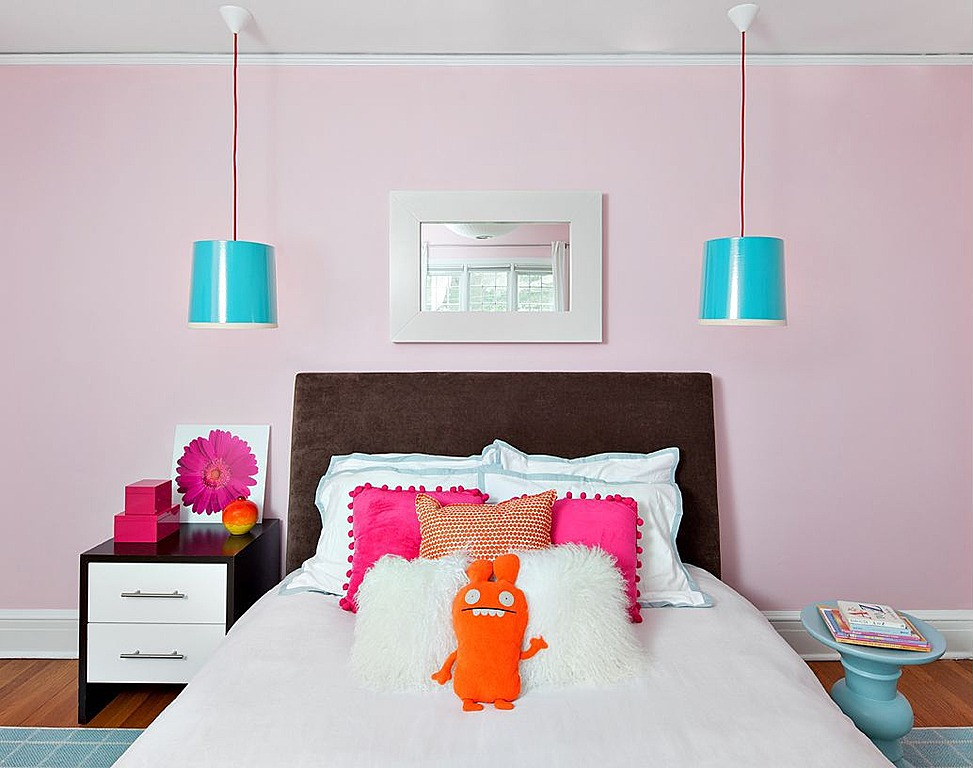 The soft pink is more grown-up with chocolate brown, orange and aqua accents.