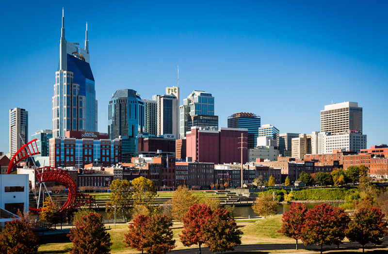 NASHVILLE - NOV 7: Downtown Nashville basks in the sun of a gorgeous November 7, 2013 fall day. Our vantage point is from East Nashville, just across the Cumberland River from downtown.; Shutterstock ID 162861680; PO: Cat Overman; Job: blog post
