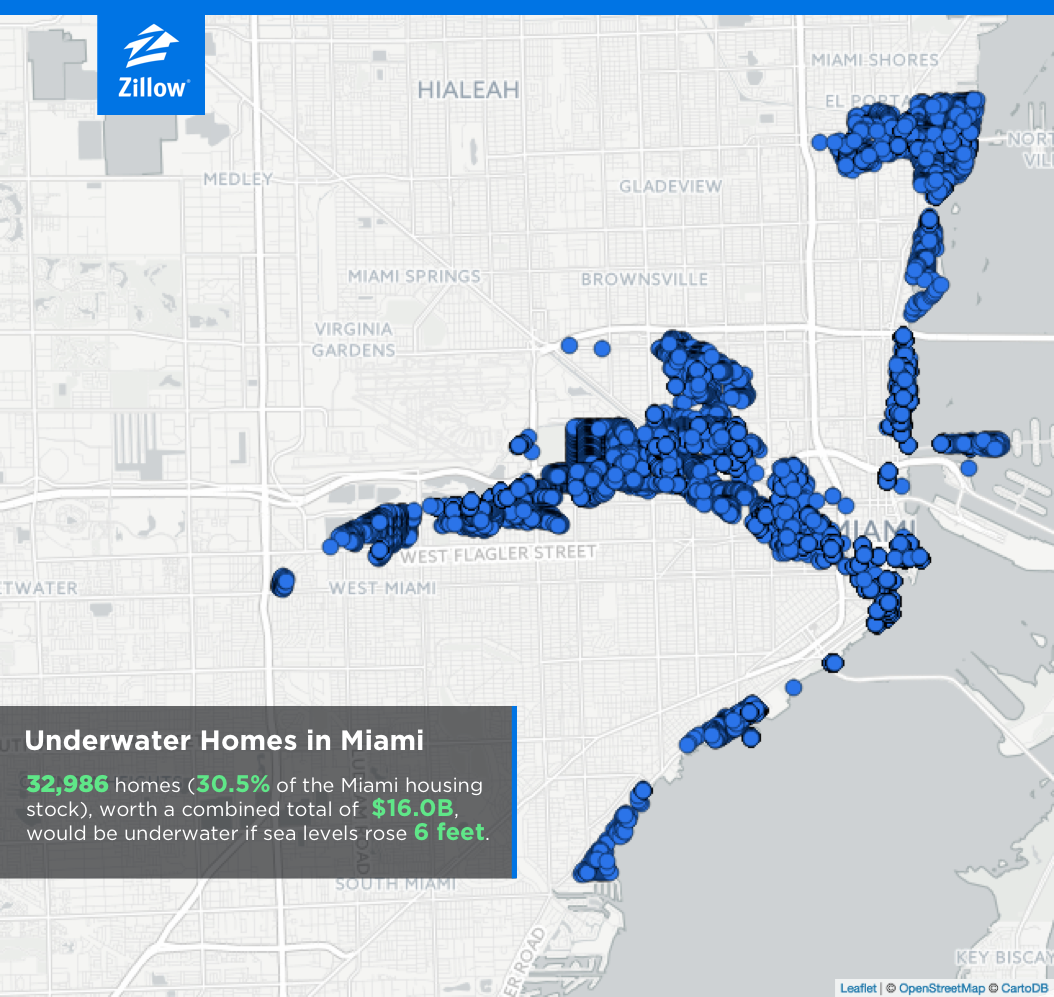Zillow: If Sea-Level Predictions Correct, 1.9M Homes Could