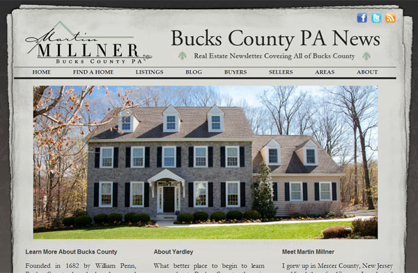 bucks county homepage with IDX integration
