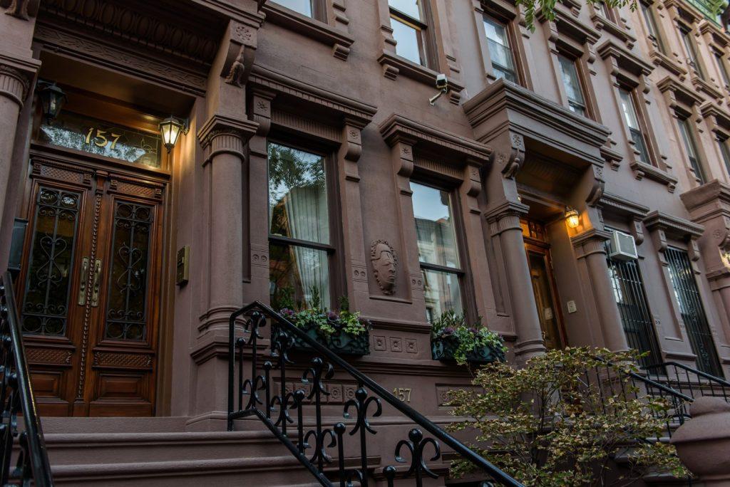 Harlem brownstones facade